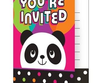 PANDA-MONIUM INVITATIONS Panda Bear Birthday Party Supplies Stationary