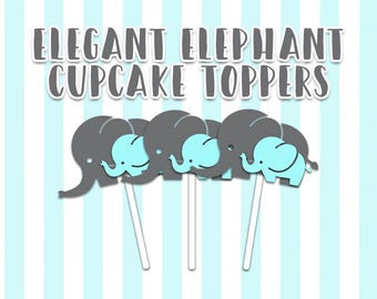 Elegant Mama & Baby Elephant Cupcake Toppers