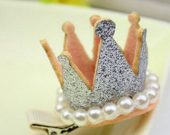 One Crown tiara princess hair clip crown clip girls birthday party hair accessories clips gold silver pink