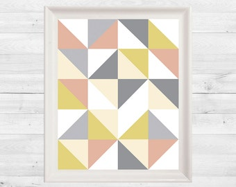 Geometric Print, Triangle, Mustard, Blush, Grey, Wall Art, Abstract Print, Instant Download
