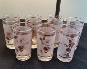 Mid Century Libby Frosted Glasses,Drink Ware,Bar Ware