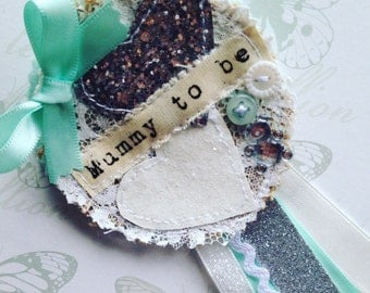 Baby Shower - Mummy to be - Rosette Brooch - silver and mint - personalised - baby shower favour gift - vintage shabby chic
