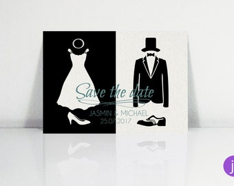 Save the date postcards (black & white)