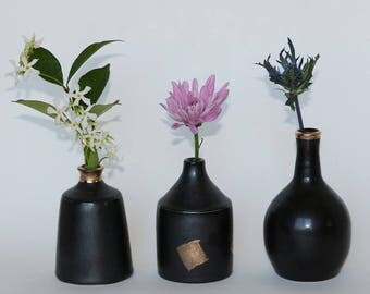 Handmade Vase, Pottery Vase, Bud Vase, Black and gold bud vase, Single Flower Vase