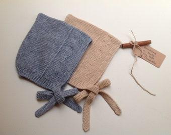 100% cashmere baby bonnet pixie hat handknit to order