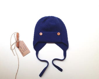 READY TO SHIP - 100% cashmere earflap pilot aviator hat, color French blue, handknitted , Size 12-24 months
