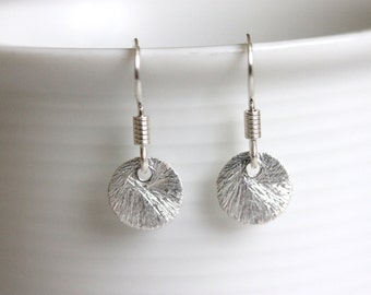 Tiny Disc Earrings, Brushed 925 Sterling Silver, Dot Earrings