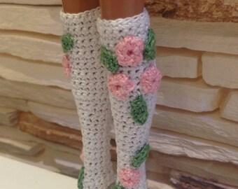 Crochet Barbie knee socks, Barbie socks, handmade Barbie socks, Barbie accessories, Barbie clothes, doll clothes, doll socks