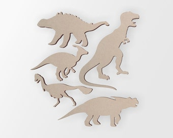 Wooden Dinosaur Group (5 Dinosaurs) - Cutout, Home Decor, Unfinished and Available from 12 to 42 Inches Tall