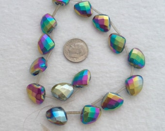 Glass Teardrop Beads with A Rainbow AB Finish (1717)