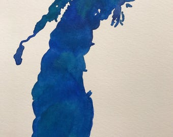 Lake Michigan Original Watercolor Painting--9x12