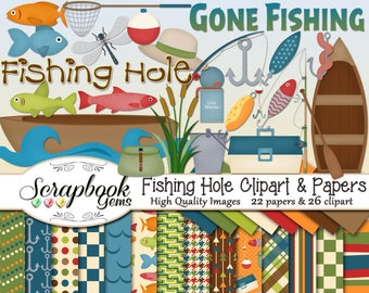 FISHING HOLE Clipart & Papers Kit, 26 png Clip arts, 22 jpeg Papers Instant Download fish lures raft canoe boat oar paddle worm net pole
