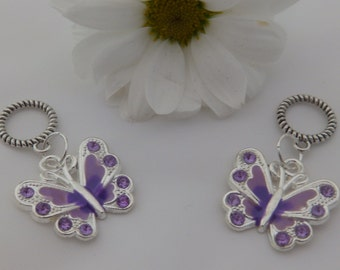 Set of Two Purple Butterfly Stitch Markers for knitting for needles up to 6 mm.