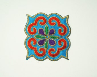 Blue Chinese Opera Embroidered Iron On Applique Patch DIY Sew-on