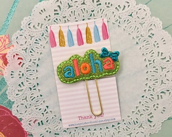 Planner clip - glitter aloha