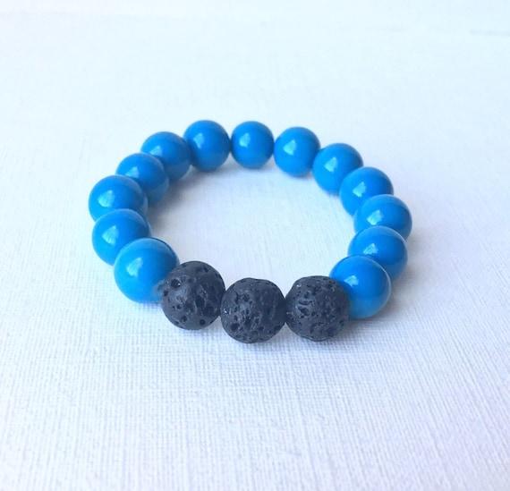 Child Essential Oil Diffuser Bracelet - gift for boy - gift for son - black lava bead and blue beaded stretch bracelet