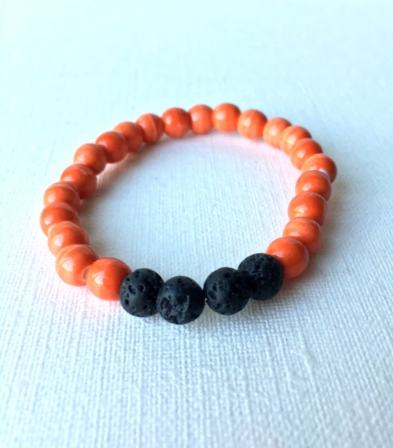 Child Essential Oil Diffuser Bracelet - gift for boy - gift for son - black lava bead and orange beaded stretch bracelet