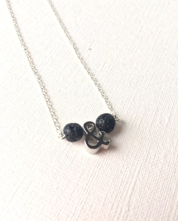 """Essential Oil Diffuser Necklace - sterling silver necklce - ampersand and lava stone necklace - 18"""""""
