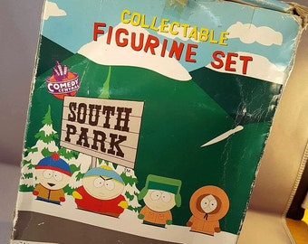South Park Collectable Figurine Set, Comedy Central Boxed set of South Park Figures,  Vintage original box - Eric, Kenny, Kyle and Stan