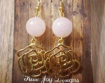 Gold Flower with Light Pink Bead Earrings