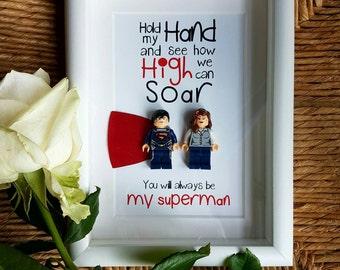 Superman and Lois lane romantic quirky boyfriend husband lego minifigure Valentines anniversary birthday present