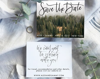 brush calligraphy save the date |  custom save the date  | personalized photo save the date | custom calligraphy save the date