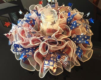 """17"""" Patriotic/Memorial/4th of July Deco Mesh Centerpiece/Candle Holder - White/Red/Blue"""