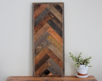 Rustic Wood Wall Art - Vertical Herringbone