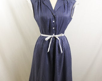 1970s Vintage Blue Dress with White Designs