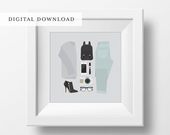 Flat Lay Illustration | Casual Day Outing | Girly Print | Fashion Print | DIGITAL DOWNLOAD