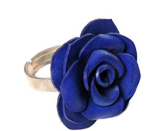 Pink flower Adjustable ring made of genuine leather