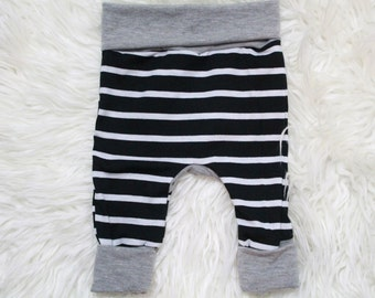 Baby/Toddler Striped Grow With Me Pants, Black and White Striped Leggings, Black and White Striped Pants, Baby Boy Leggings