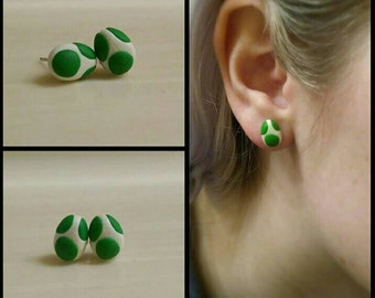 Super Mario Brothers Yoshi Inspired Polymer Clay Earring Studs