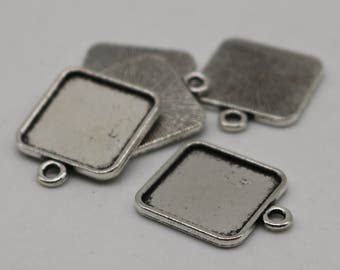 50 Pcs of SQUARE Antique Silver Bezel - for 15mmX15mm GLASS Magnifying Domes Cabochon - Pendant Blank Bezel . for Cabochon, Photo Jewelry