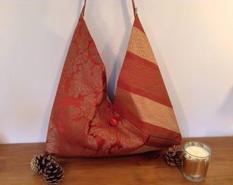 Handmade Handbag Shoulder Crossbody Bag Burnt Orange Gold Flowers Luxury Designed by AviBag