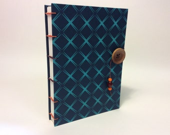 "Navy and Turquoise Button Book  5"" X 7"""