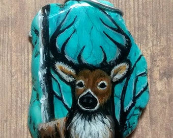 Hand Painted Buck Portrait on Turquoise Magnesite Pendant