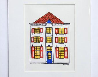House 'Kamp 77' Acryl Paint Drawing Architecture Amersfoort