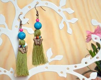 Handmade tassel earrings in bohemian style, Chandelier earrings with tassel