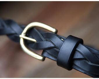 Braided Leather Belt for Men and Women , one size fits all