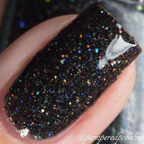 Black Holographic Glitter Nail Polish