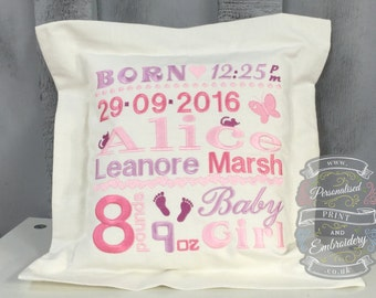 Personalised Baby's Birth Details cushion, made from 100% linen,