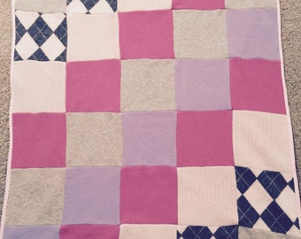 Cashmere Baby Blanket/Lap blanket/repurposed/reclaimed cashmere/soft pinks,grey,purple/OOAK