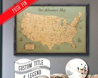 USA Travel Map Push Pin Large Rustic Style 24x36"