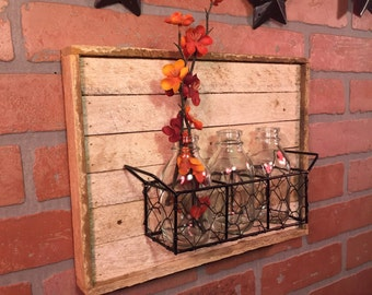 Rustic Three Bottle, holder, Rustic home decor, Bottle Holder, Bottle wall decor