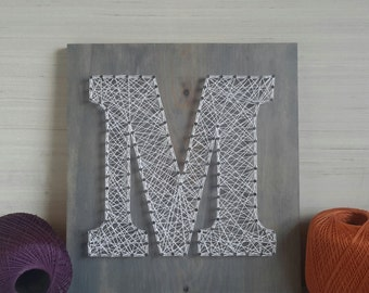 Personalized Letter String Art Rustic Wood Letters for Wall Engagement Anniversary Wedding Present Initial Gift for First Home Gift Client