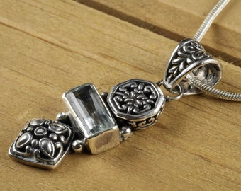 4.25cm AQUAMARINE Pendant - Sterling Silver Filigree, Natural Aquamarine Crystal, Aquamarine Necklace, Aquamarine Jewelry Making J1022