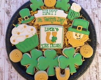 St. Patty's Day Sugar Cookies/Decorated Sugar Cookies/St. Patricks Day/ St. Patricks Day Sugar Cookies/Shamrocks/ Leprechaun
