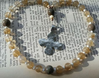 Anglican Protestant Episcopal Protestant Christian English Prayer Beads Rosary - Quartz & Grey Jasper Beads