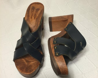 7 Leather and Wood Heeled Clog